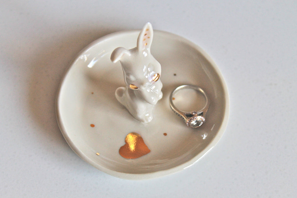 Handmade Ceramic Bunny Ring Dish with 22k Gold accent Porcelain
