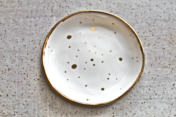 Speckle Gold white Ring Dis -white Ring Dish with Genuine Gold. Jewelry Holder 22k Gold polka dots - Pink Ring Dish- Speckled Gold pink dish
