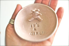 It's a Girl!! Ceramic Baby Gender Announcement - Pottery Pregnancy Announcement - It's a Boy ring dish in Blue Lagoon - baby shower gift