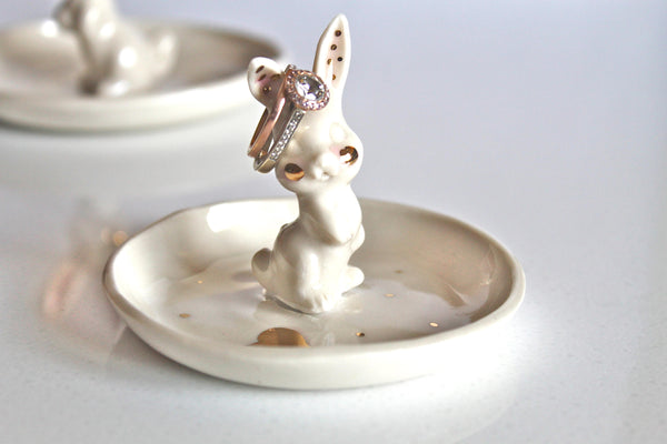 Handmade Ceramic Bunny Ring Dish with 22k Gold accent- Porcelain Bunny Ring Holder - Pottery Ring Dish 22k gold - Bunny Jewelry Holder