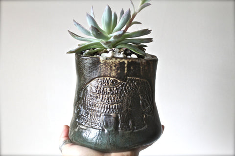 Handmade Pinch Pot Small Vase-Stoneware Pencils Holder-Ceramic Candle holder- Vase Desk with a imprinted Elephant- Pottery Succulent Planter