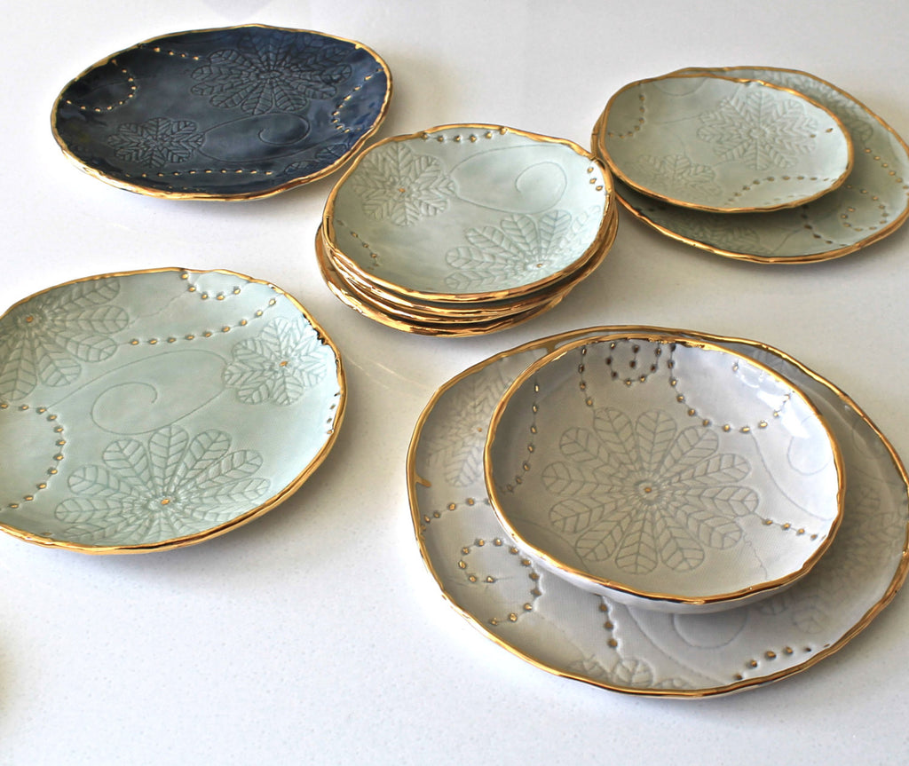 Deep Blue Floral Textured Jewelry tray with gold - Handmade Porcelain Dish - Organic Shaped Porcelain & Deep Blue Floral Textured Jewelry tray with gold - Handmade ...