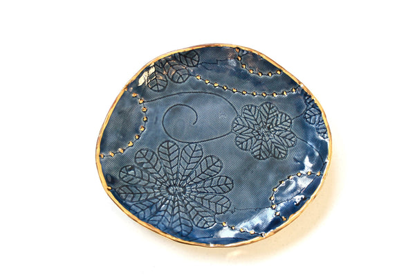 Deep Blue Floral Textured Jewelry tray with gold - Handmade Porcelain Dish  - Organic Shaped Porcelain plate- Textured tray with 22k gold