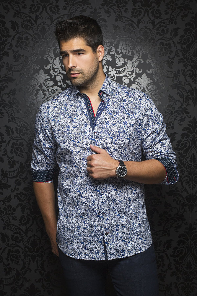 AU NOIR SHIRT- MANILA FLORAL ROYAL