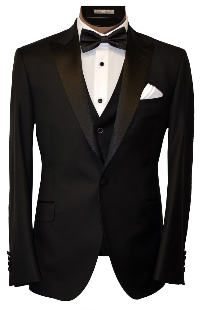 CALVARESI TUXEDO- BLACK WITH BLACK LAPEL