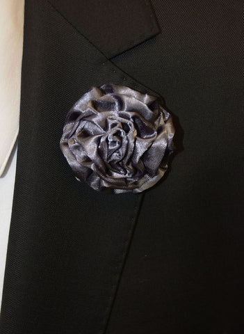 IKE BEHAR FLOWER PIN- CHARCOAL