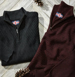 SOUL OF LONDON MOCK ZIP SWEATER- BURGUNDY