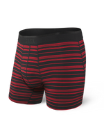 SAXX PLATINUM BOXER BRIEF- BLACK/RED TIDAL STRIPE