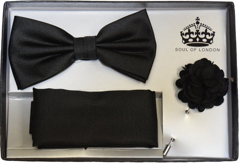 BOW TIE , POCKET SQUARE AND LAPEL FLOWER PIN SET- BLACK