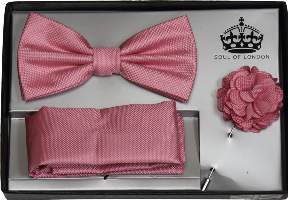 BOW TIE , POCKET SQUARE AND LAPEL FLOWER PIN SET- PINK