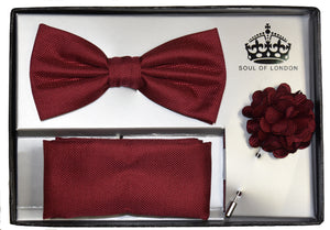 BOW TIE , POCKET SQUARE AND LAPEL FLOWER PIN SET-BURGUNDY