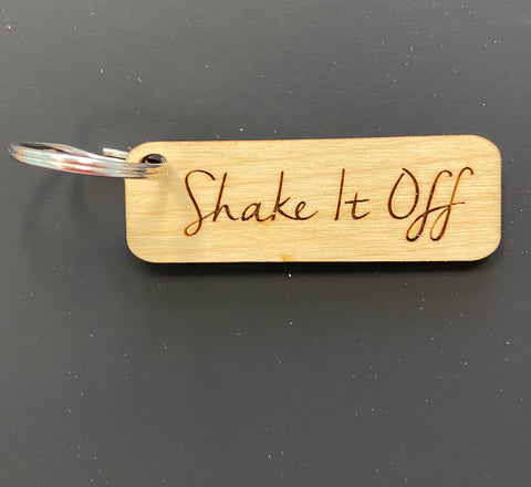 Shake it Off Engraved Keychain