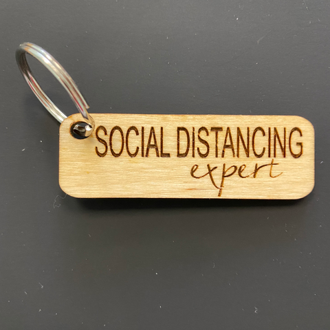 Social Distancing Engraved Keychain