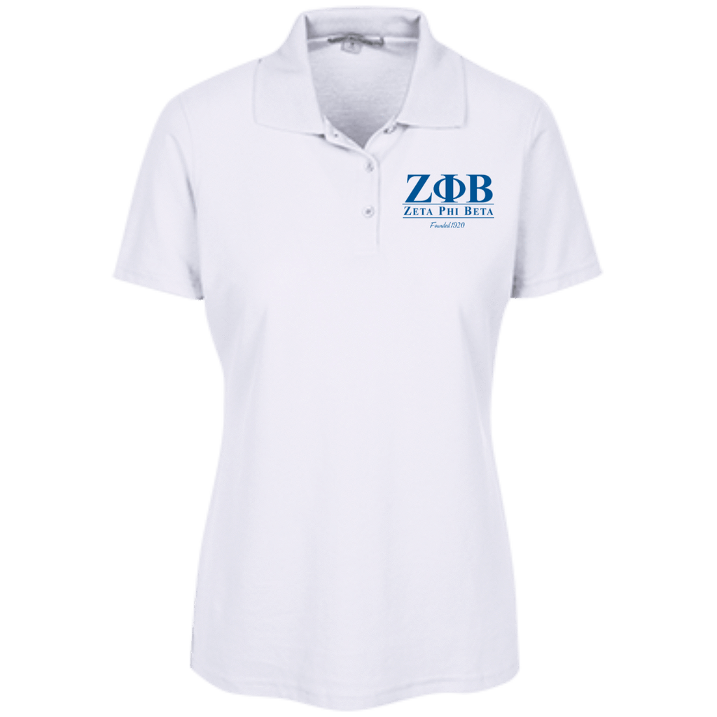Zeta Phi Beta Ladies Embroidered Stain Resistant Sport Shirt