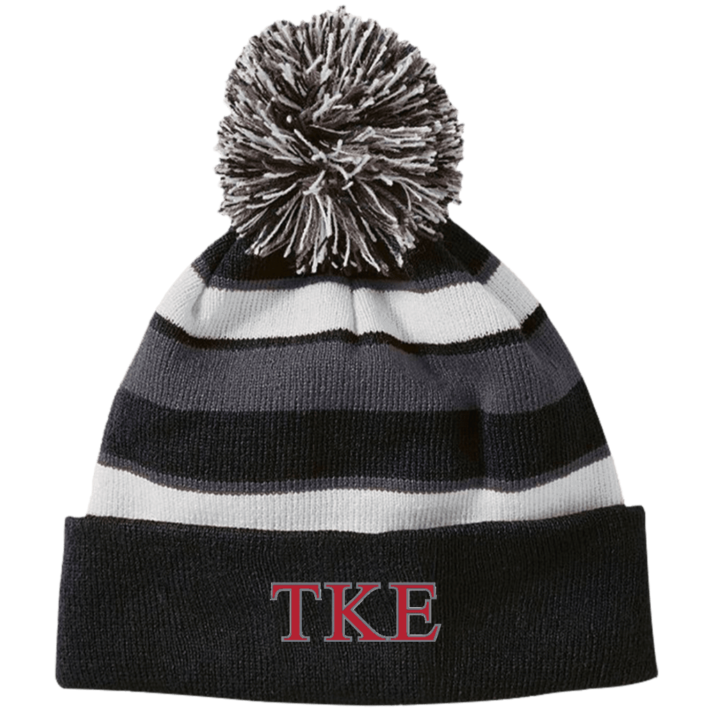 Tau Kappa Epsilon Striped Beanie with Pom