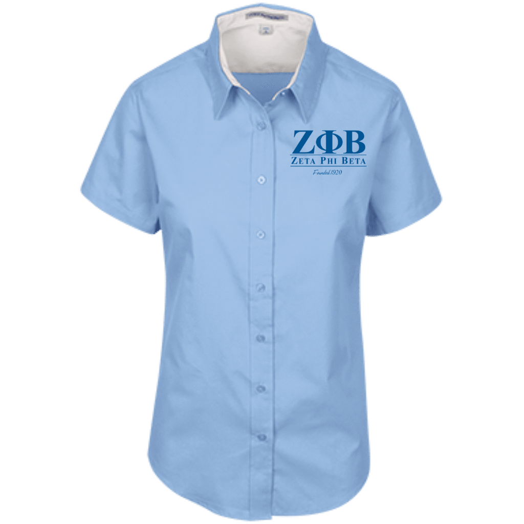 Zeta Phi Beta Short Sleeve Easy Care Shirt for Her