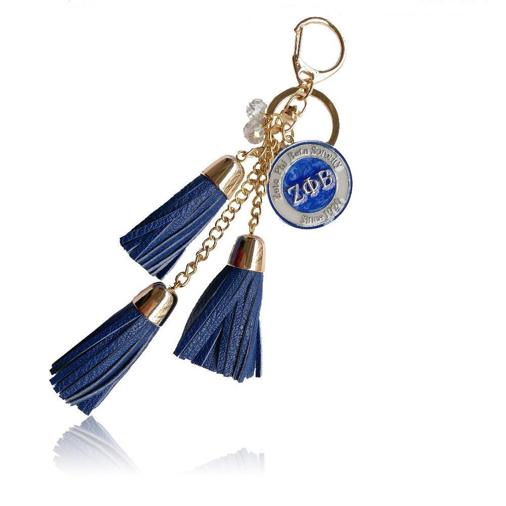 Zeta Phi Beta Leather Keychain