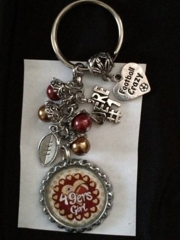 49ers Inspired Bottle Cap Football Keychain Free Shipping 49ers Key chain #3