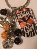 Bengals Inspired  Mini Dog Tag  Keychain Handmade