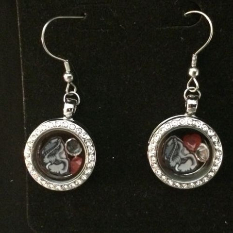 Alabama Crimson Tide Inspired Memory Locket Earrings 20mm Crimson Tide Earrings