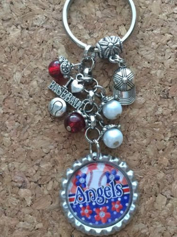 Angels Baseball Inspired Bottle Cap Keychain Angles Key chain