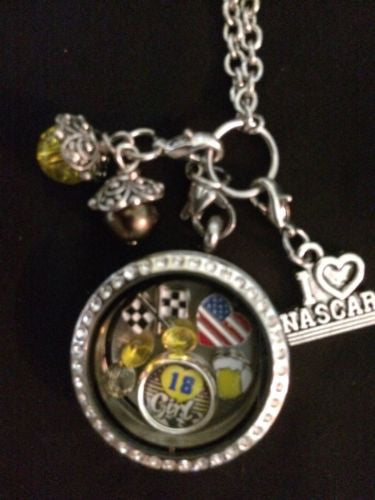 Kyle Bush Inspired Large 30mm Memory Locket W/Chain Nascar Necklace