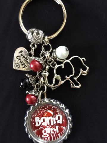 Alabama  Keychain Inspired Bottle Cap Charm Key Chain Bama Key chain