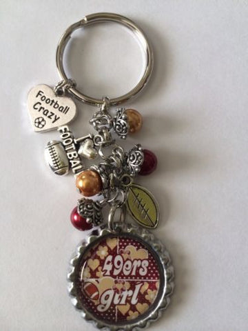 49ers Football  Inspired Bottle Cap Keychain Free Shipping 49ers Key chain