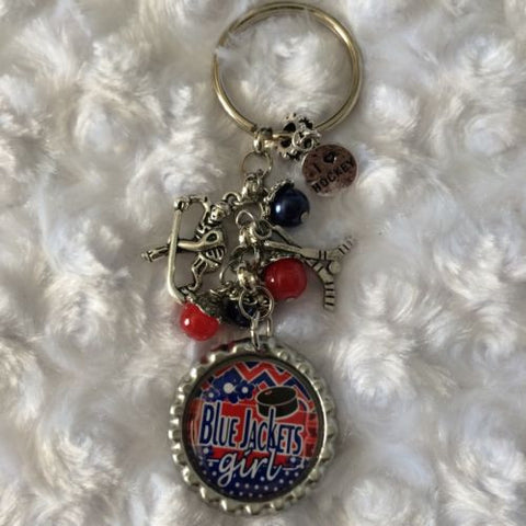 Blue Jackets Inspired Keychain Handmade Blue Jackets Key chain