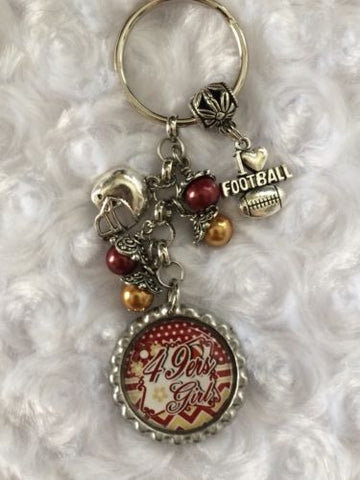 49ers  Inspired Football  Bottle Cap Keychain Free Shipping 49ers Key chain