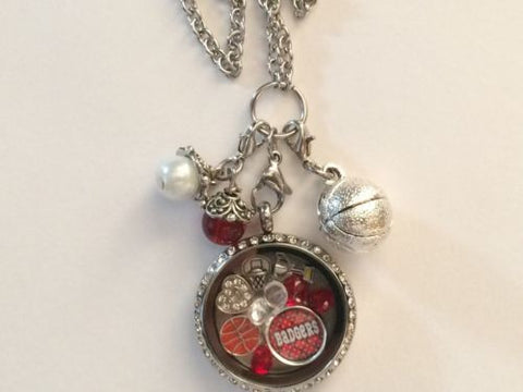 Badgers Inspired Necklace Memory Locket w/Chain Badgers Necklace
