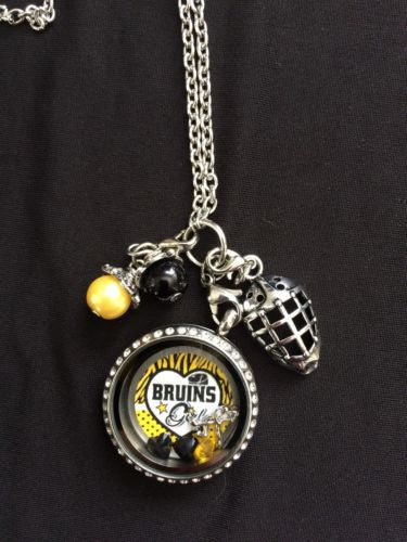 Bruins Inspired Necklace Memory  Locket  Necklace Bruins Necklace