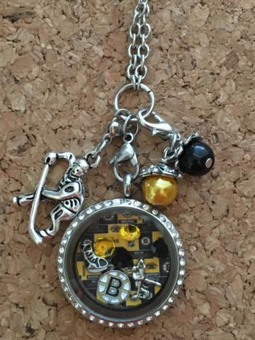 Boston Bruins Inspired Necklace Memory  Locket  Necklace Bruins Necklace