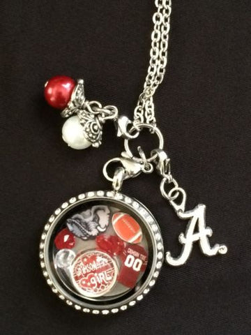 Alabama Crimson Tide Inspired Large 30mm Memory Locket Necklace Alabama Necklace