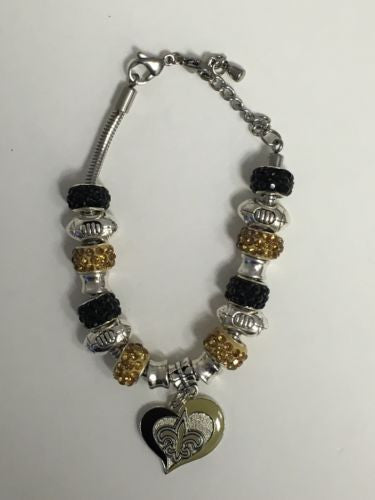 Saints Inspired Charm Bracelet Adjustable Up To 8 Inches