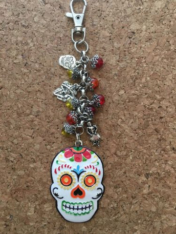 Day Of Dead Purse Charm Keychain Inspired By Dia De Los Muertos Keychain
