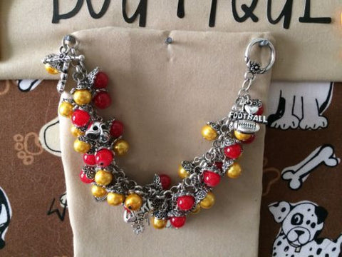 49ers Colors Inspired Football Charm Bracelet
