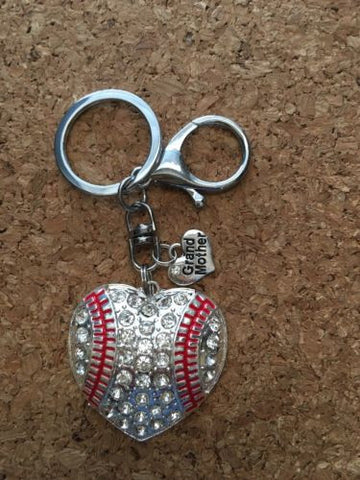 Baseball Heart Grandmother  Keychain Baseball Keychain