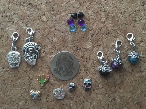 Day Of The Dead, Dia Los Muertos Floating Locket Charms
