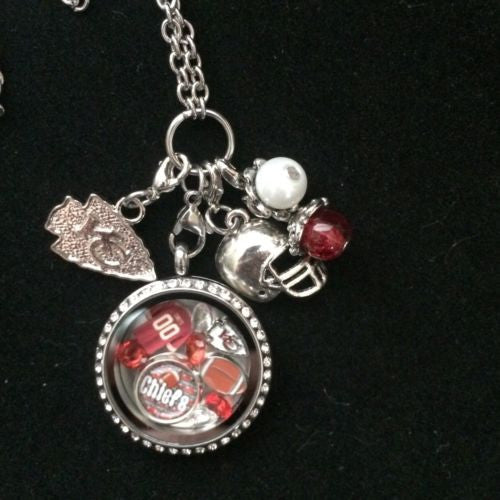 Chiefs Inspired Necklace Memory Locket W/Chain Chiefs Necklace