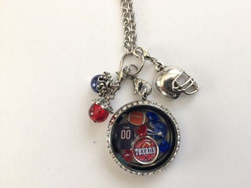 Houston Texans Inspired Memory Locket w/ 30 in chain Texans Necklace