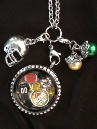 Packers Inspired Memory Locket W/Chain Packers Inspired Necklace