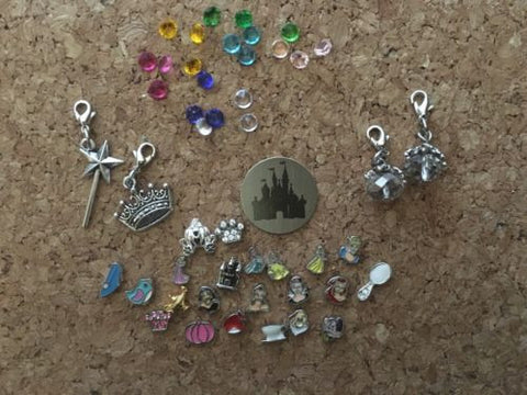 Disney Princess Themed Floating Locket Charms Large Lot