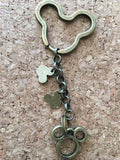 Mickey Mouse Inspired  Keychain  Handmade Antique Bronze  Keychain