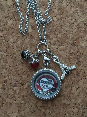 Blackhawks Inspired Necklace Memory Locket Blackhawks Inspired Necklace