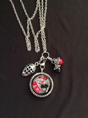 Blackhawks Inspired Necklace Memory Locket W/Chain Blackhawks Necklace