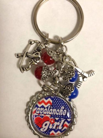 Avalanche Inspired Bottle Cap Keychain Handmade Avalanche Key Chain