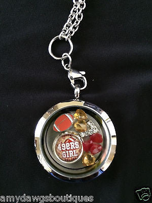 "49ers Inspired 30mm Living Locket Screw Top 30"" Chain USA Seller"