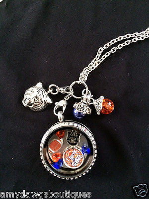 AuburnTigers Inspired Necklace Memory Locket  Necklace w/  chain Tigers Necklace