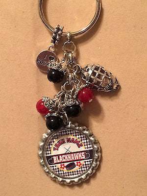 Blackhawks Inspired Key Chain  Personalized Handmade